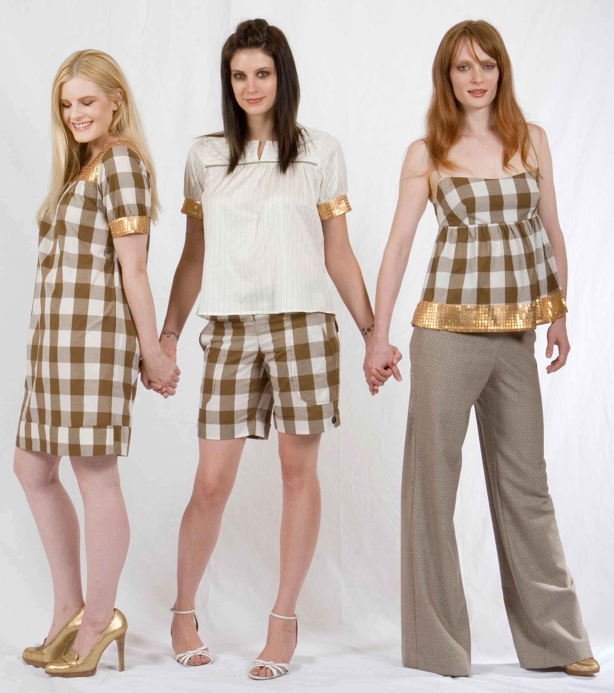 Bib Dress in Cotton Gingham w/ Gold Sequined Yoke & Sleeve Bands.  Edie Top in Ecru Jersey w/ Gold Sequined Sleeve Bands & Metallic Trim.  Cuffed Shorts in Cotton Gingham           Shirred Cami Top in Cotton Gingham w/ Gold Sequined Hem & Metallic Trim.  Boy Trouser in Dotted Jaquard (Wool / Viscose Stitching)