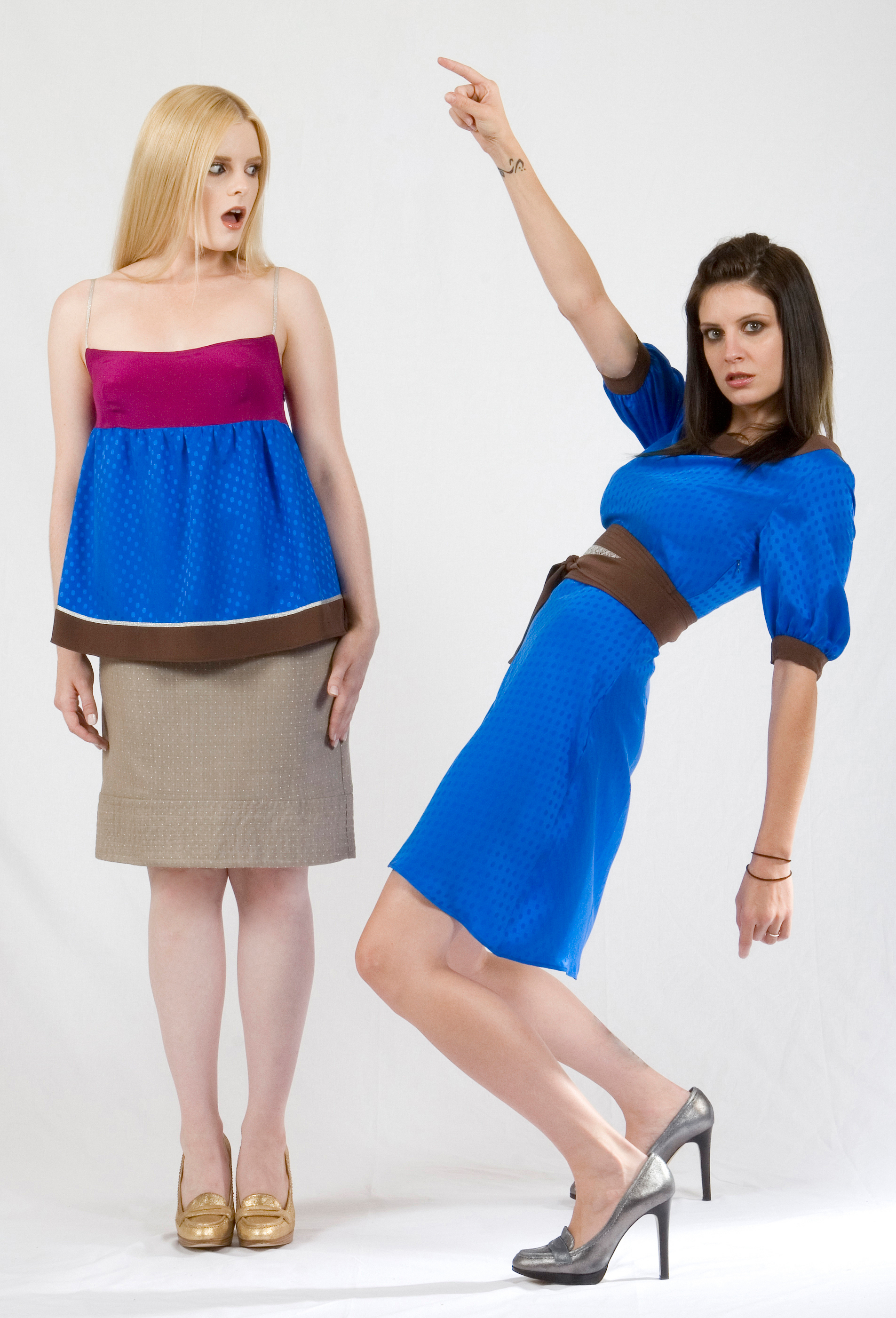 Color Blocked Cami Top in Silk Dotted Jaquard & Crepe w/ Metallic Trim  Quilt Stitched Pencil Skirt in Dotted Jaquard Suiting.   On the right:   Belted Scoop Dress in Silk Dotted Jaquard & Crepe w/ Metallic Lace Trim.