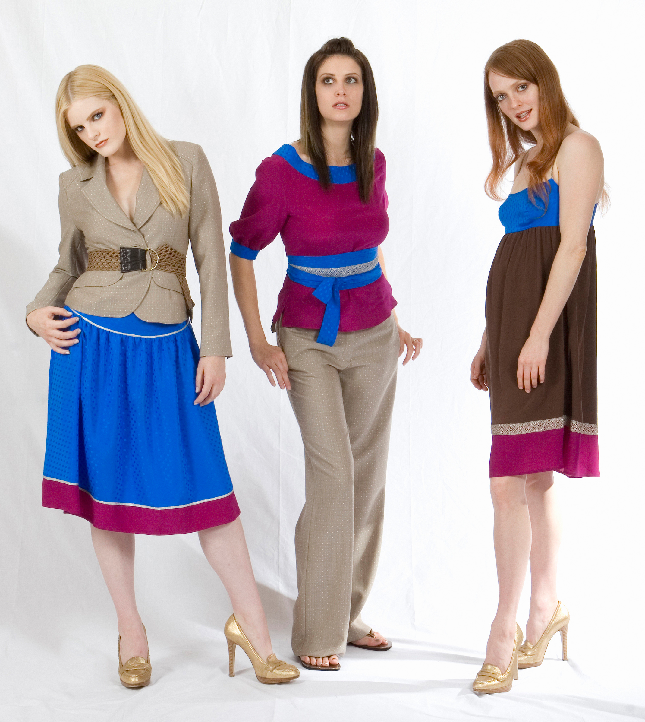 From left to right:   Silk Lined Shrunken Blazer Inotted Jaquard Suiting  High Yoke Full Skirt in Silk Dotted Jaquard & Crepe w/ Metallic Trim    Belted Scoop Blouse in Silk Crepe & Dotted Jaquard w/ Metallic Lace Trim  Boy Trouser in Dotted Jaquard Suiting    Color Blocked Cami Dress in Silk Dotted Jaquard & Crepe.