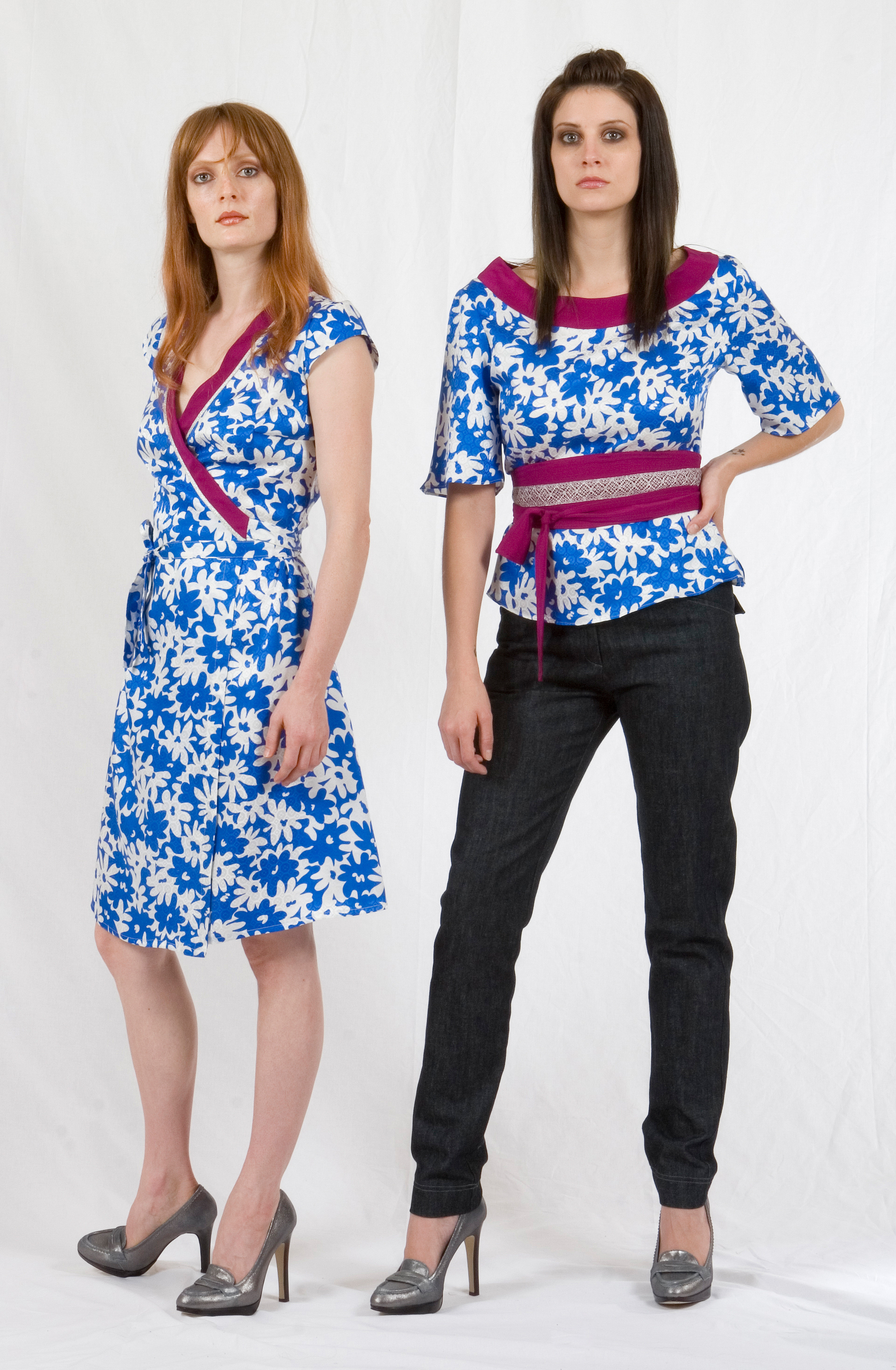 Wrap Dress in Silk Printed Jaquard & Crepe w/ Metallic Trim.  Belted Scoop Blouse in Silk Printed Jaquard & Crepe w/ Metallic Lace Trim.  Black Denim Skinny Jean.