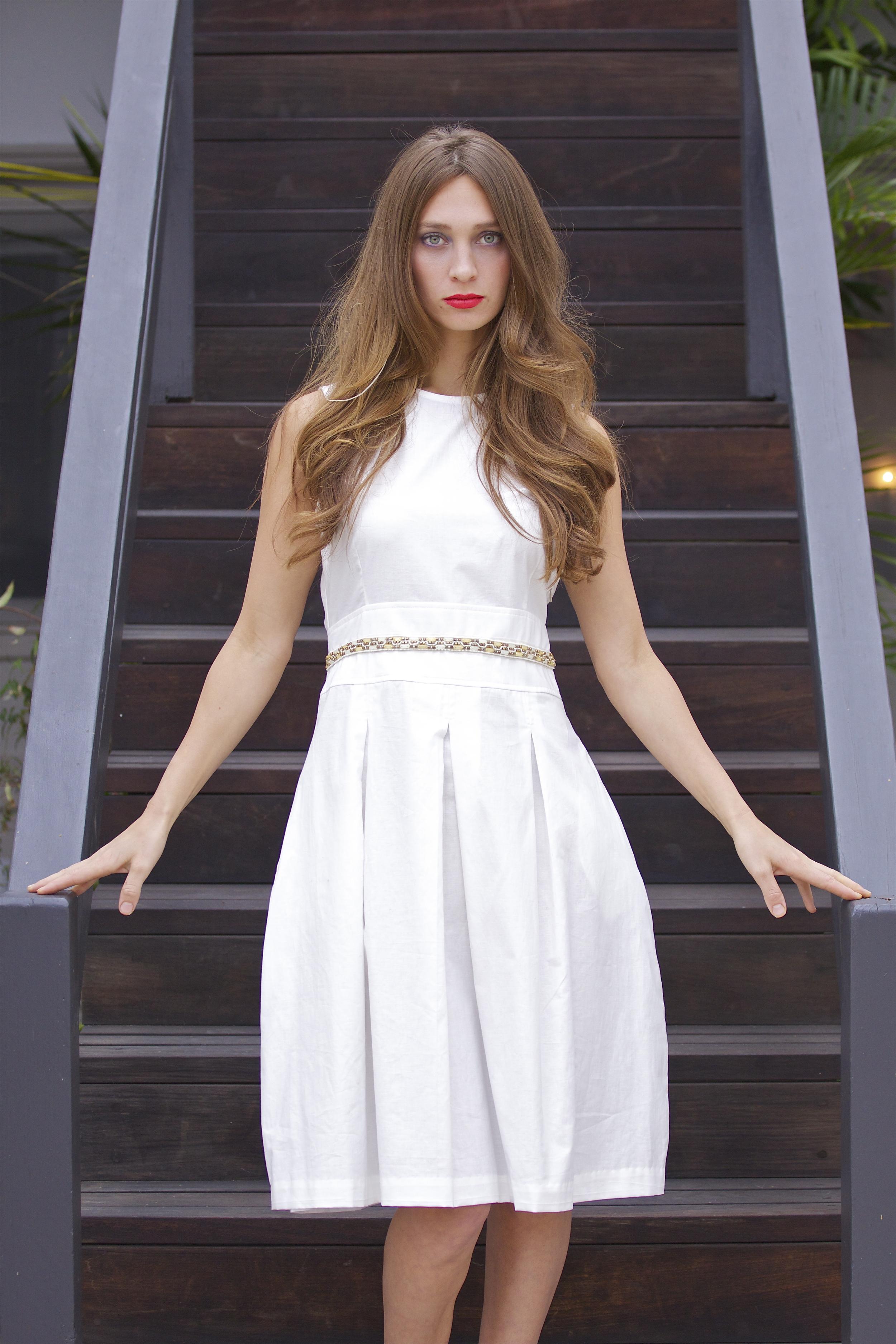 White Cotton Midi Dress with Beaded Waist