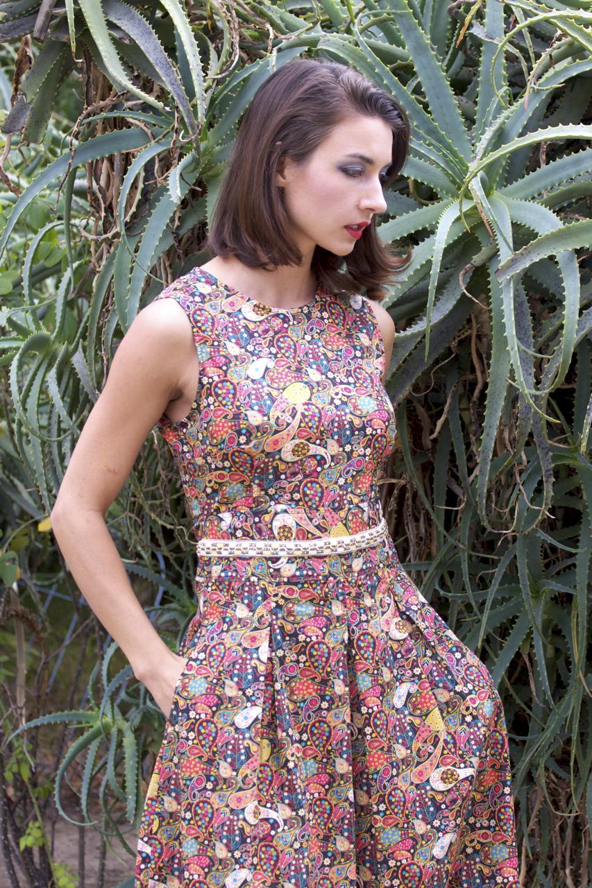 Liberty Beaded-Waist Dress