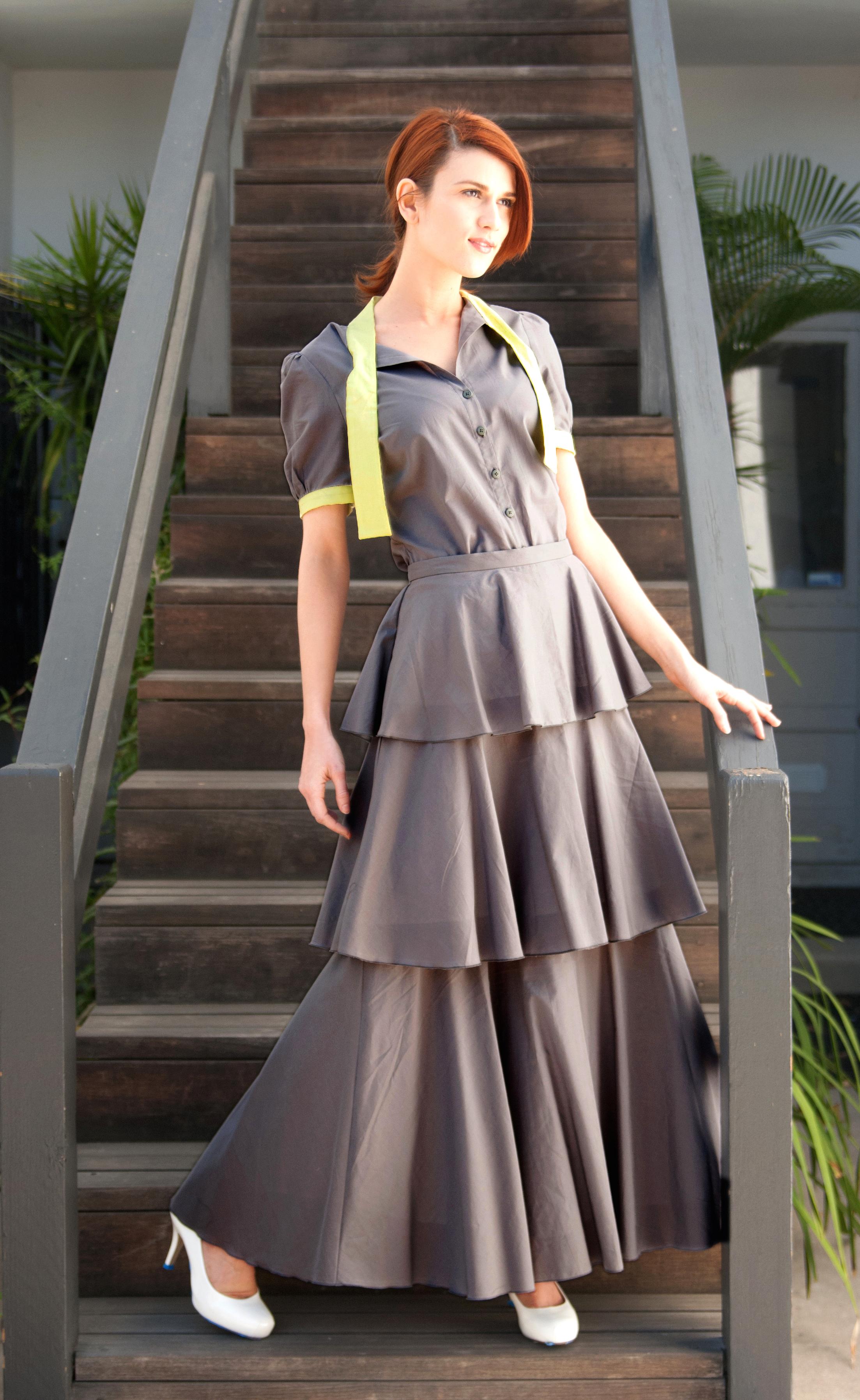 Tie Neck Blouse & 3-Tier Maxi Skirt