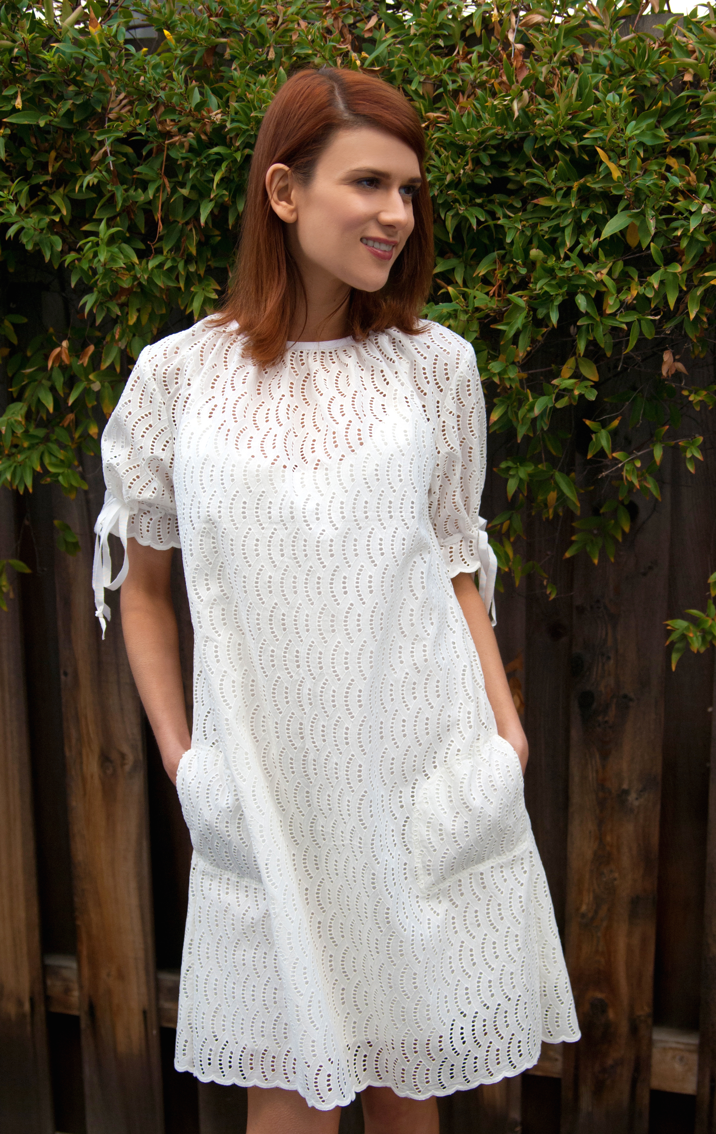 White Shift Dress In Embroidered Cotton Eyelet