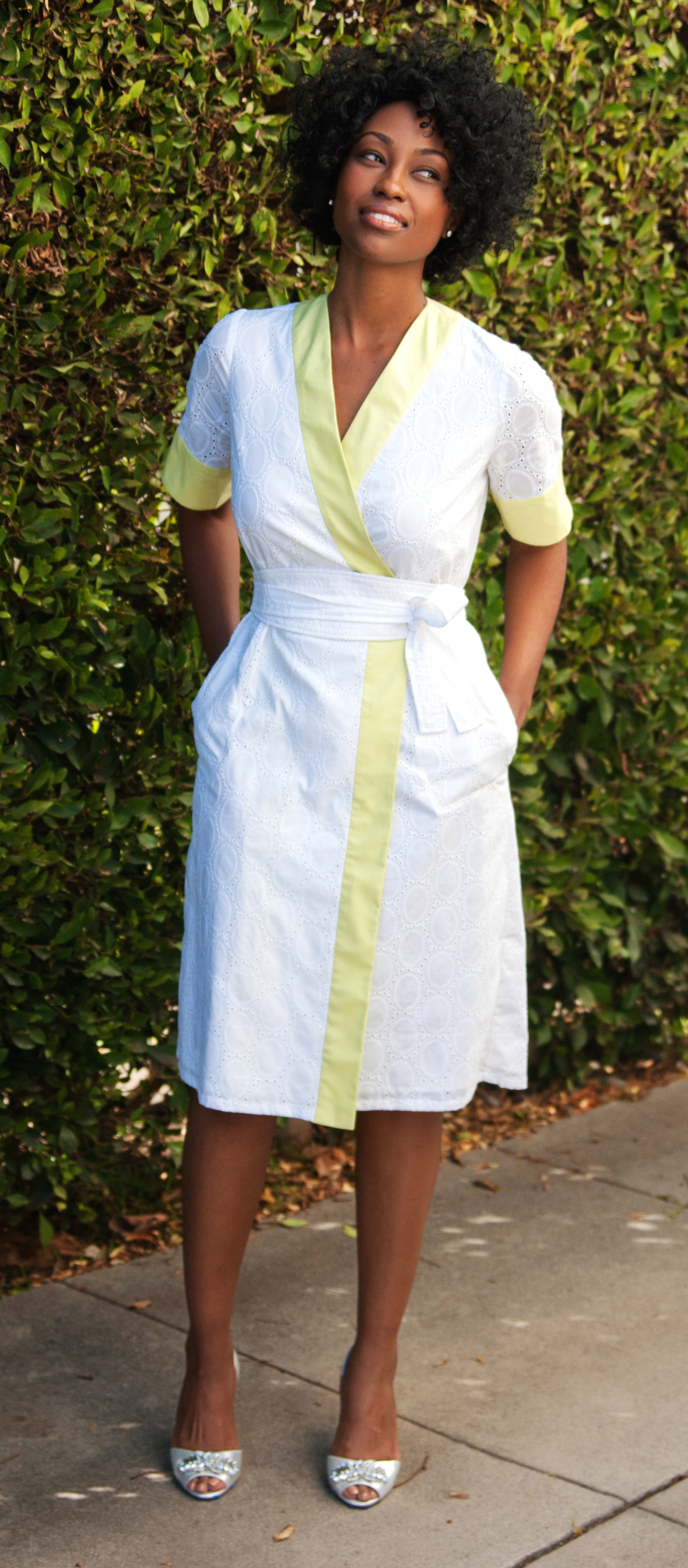 Wrap Dress in Embroidered White Cotton