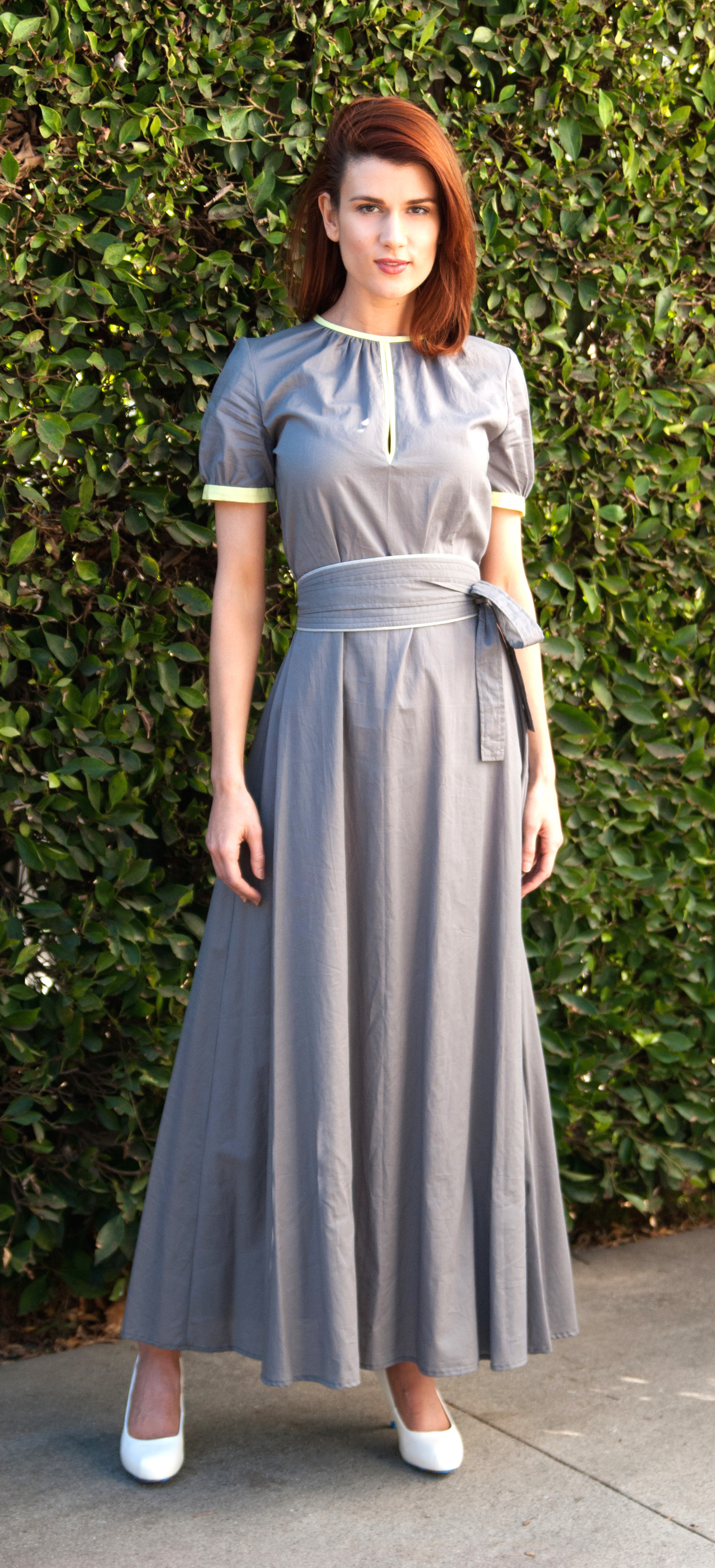 Keyhole-Neck Maxi Dress with Obi Belt