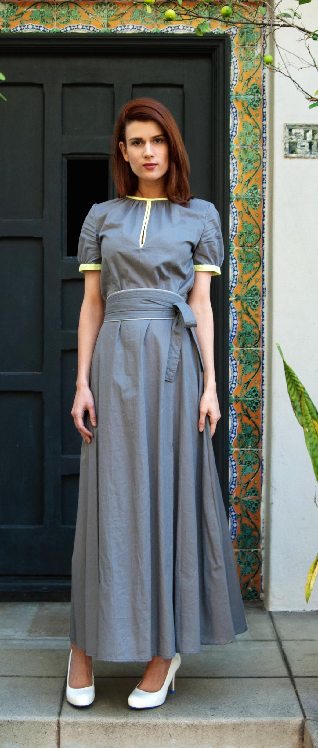 Keyhole Maxi Dress with Obi Belt