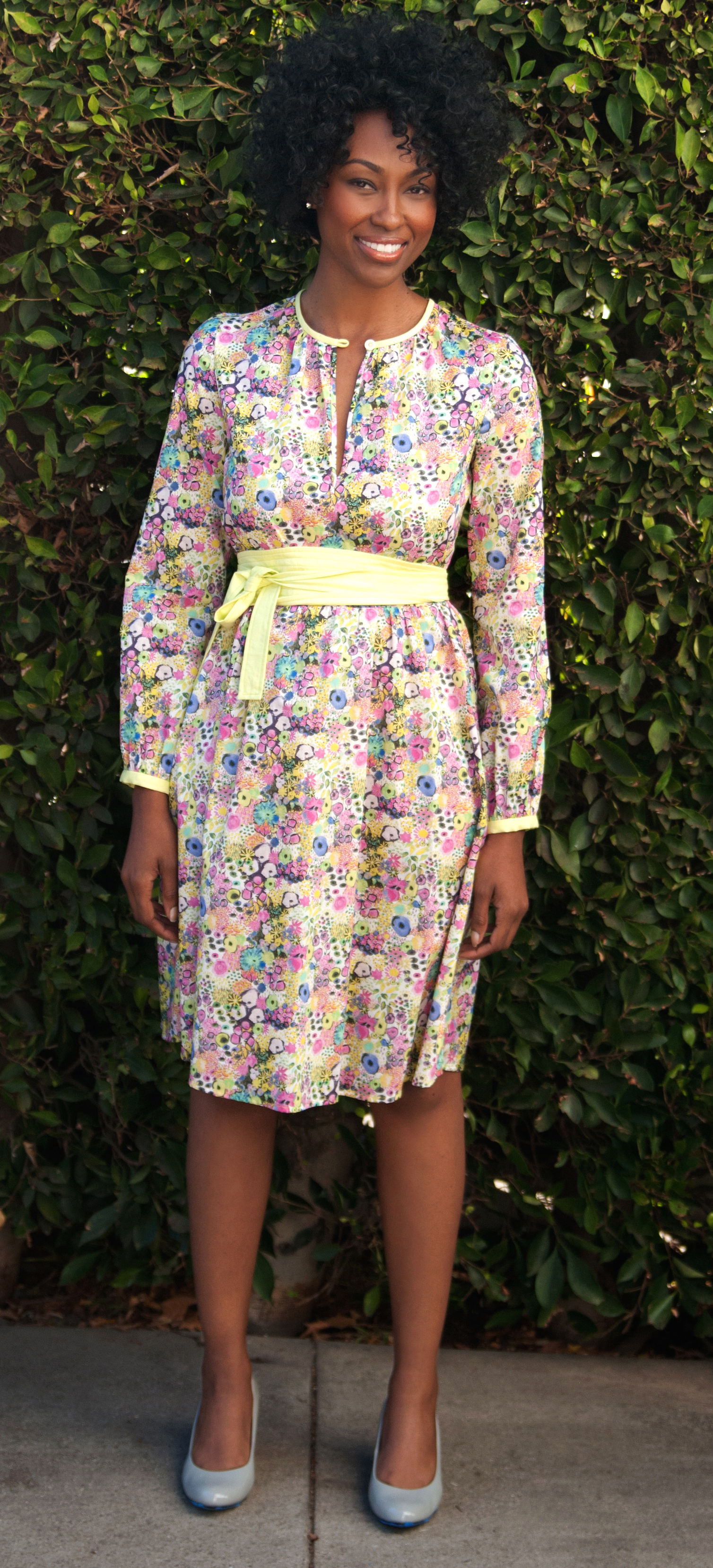 Liberty-Print Keyhole Dress