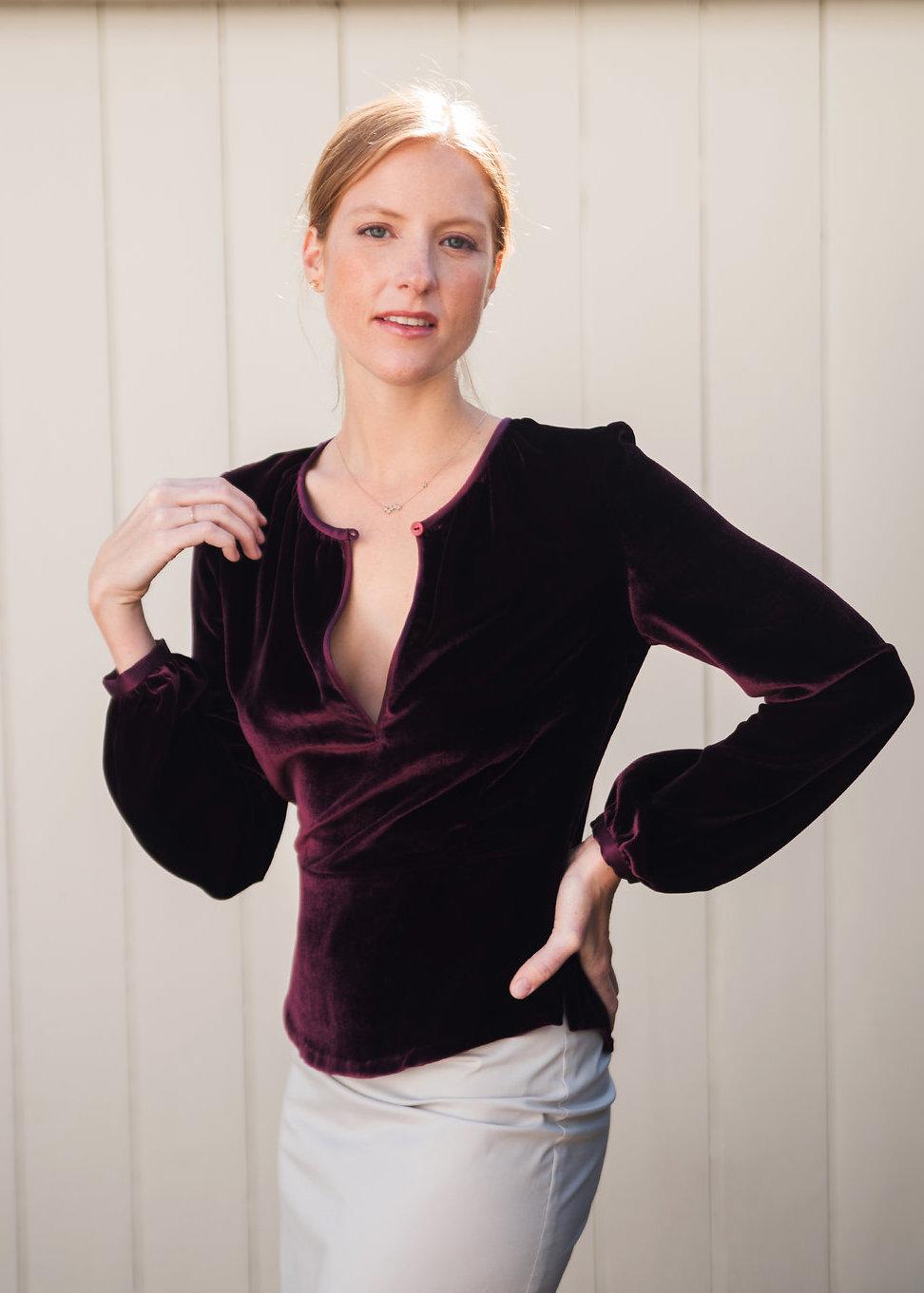 Burgundy Velvet Blouse & Cotton Stretch Pencil Skirt