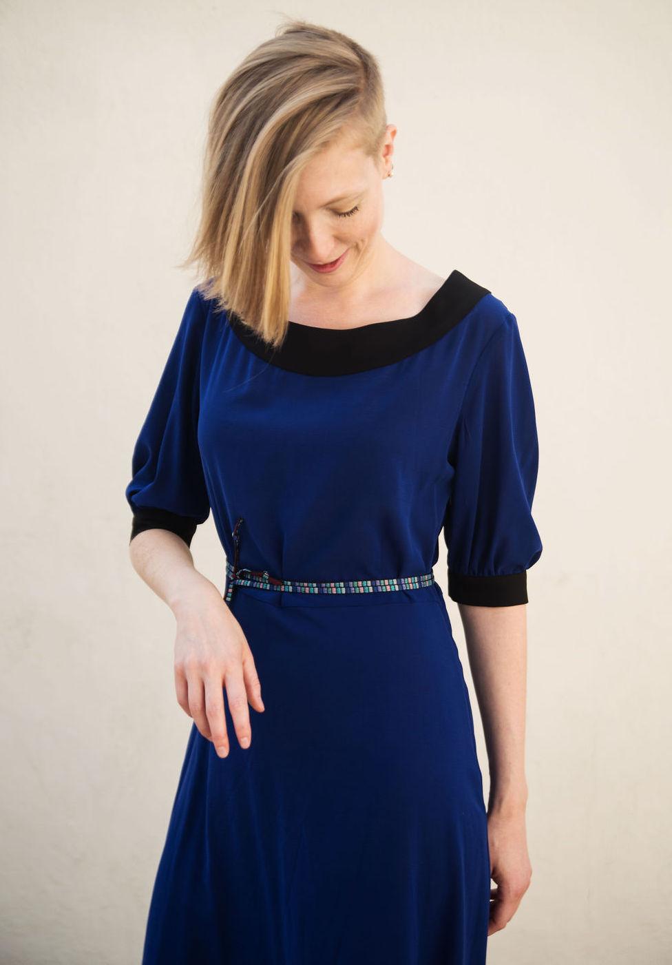 Silk Midi Dress in Cobalt Blue & Black