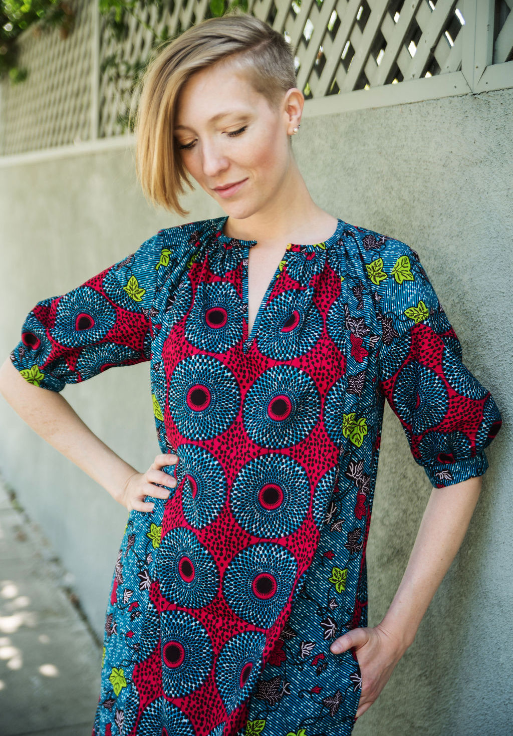 Caftan Dress with Pockets in African Print