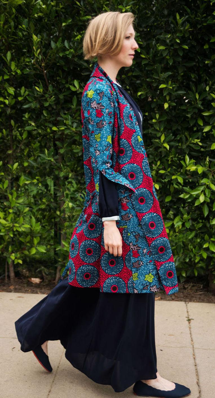 Kimono Style Coat Dress in African Print