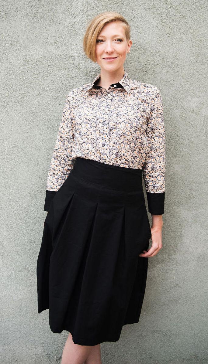 Liberty London Print Shirt & High Waisted Midi Skirt