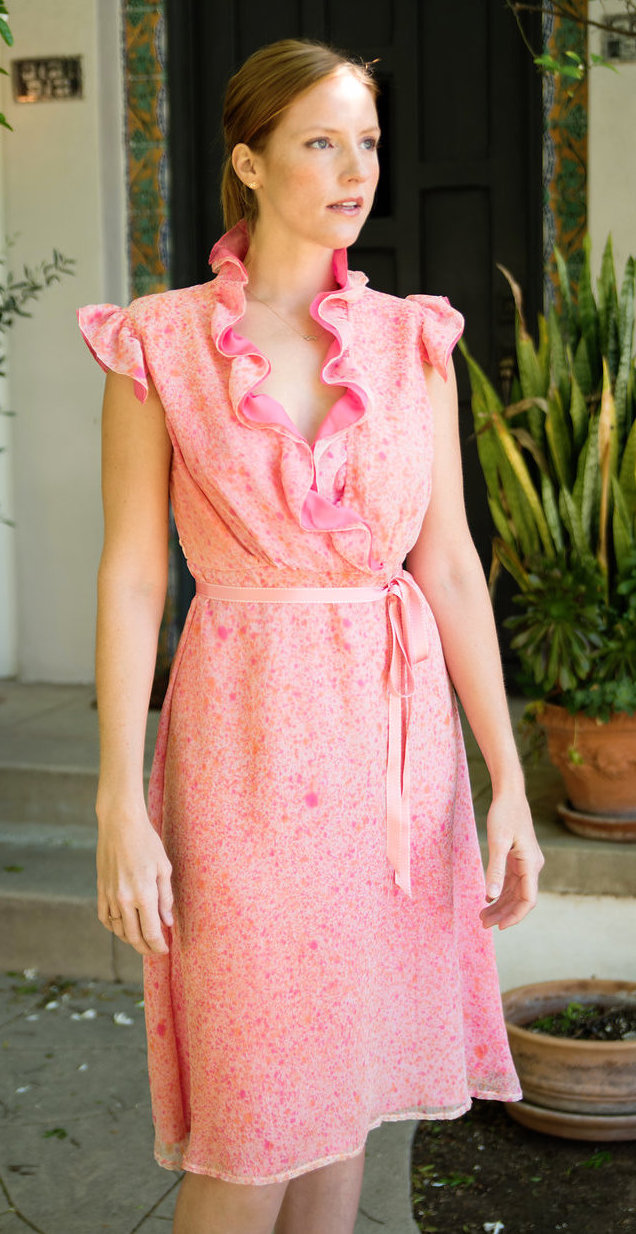 Ruffle Dress in Silk Chiffon