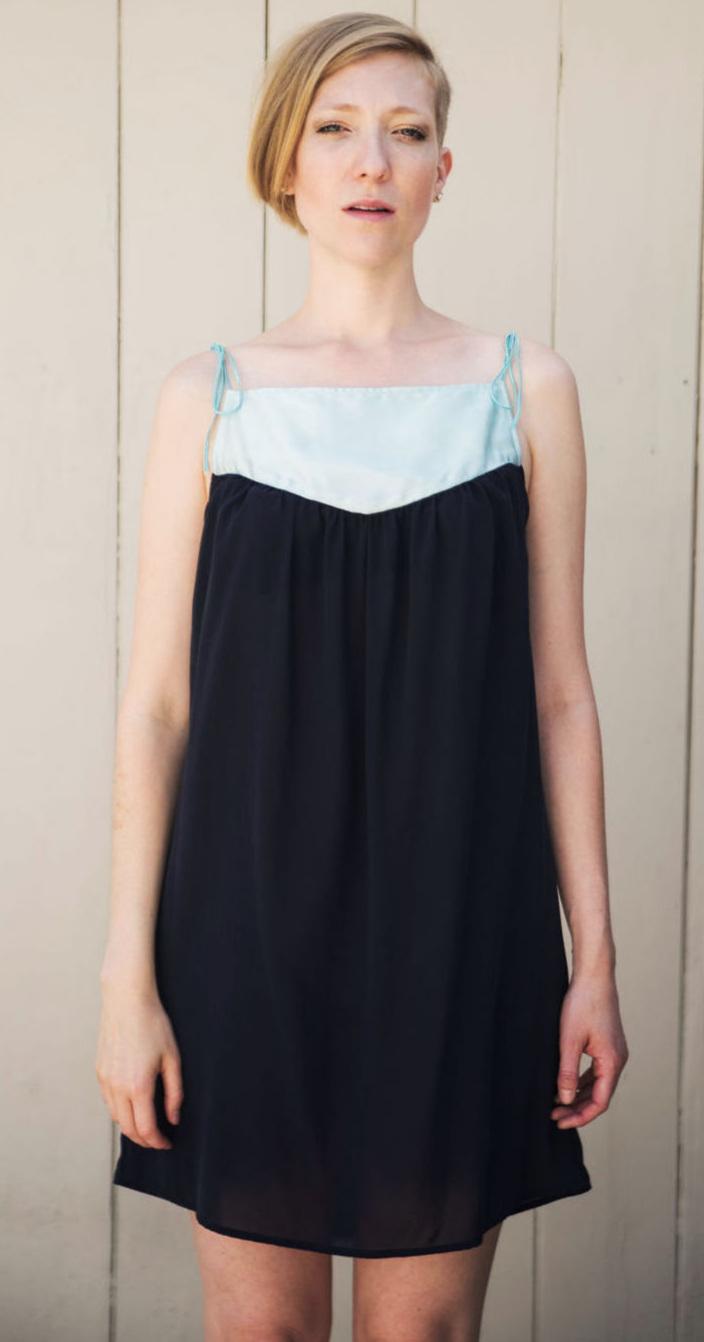 Baby Doll Dress in Blue Silk