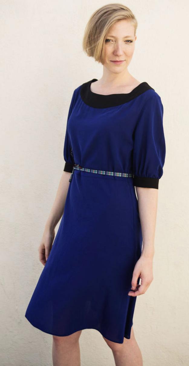 Silk Midi Dress in Cobalt Blue Silk