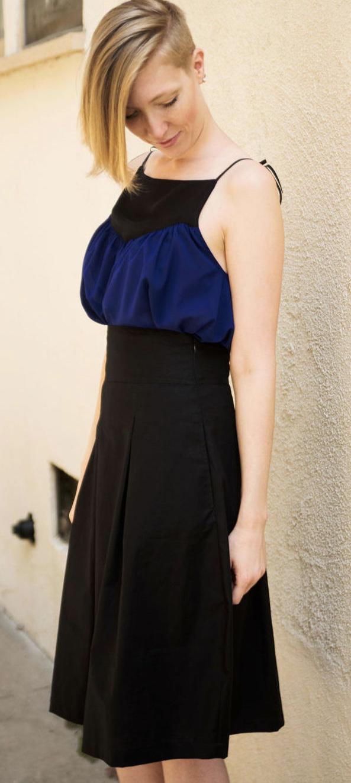 Baby Doll Silk Top & Black High Waisted Skirt