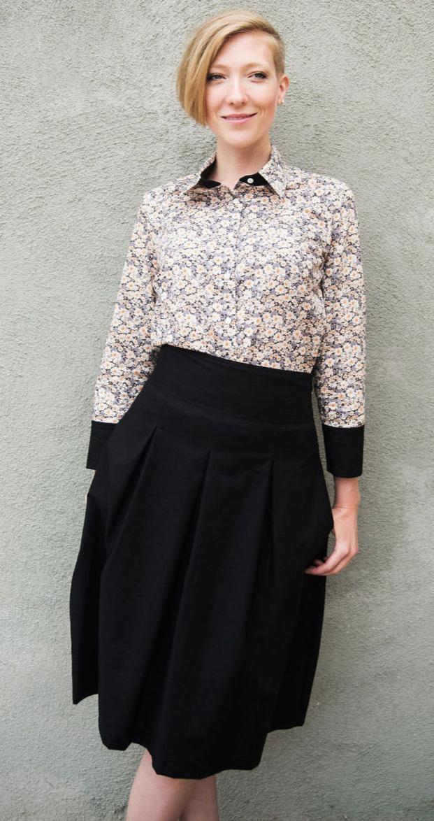 High Waisted Midi Skirt & Liberty Print Shirt