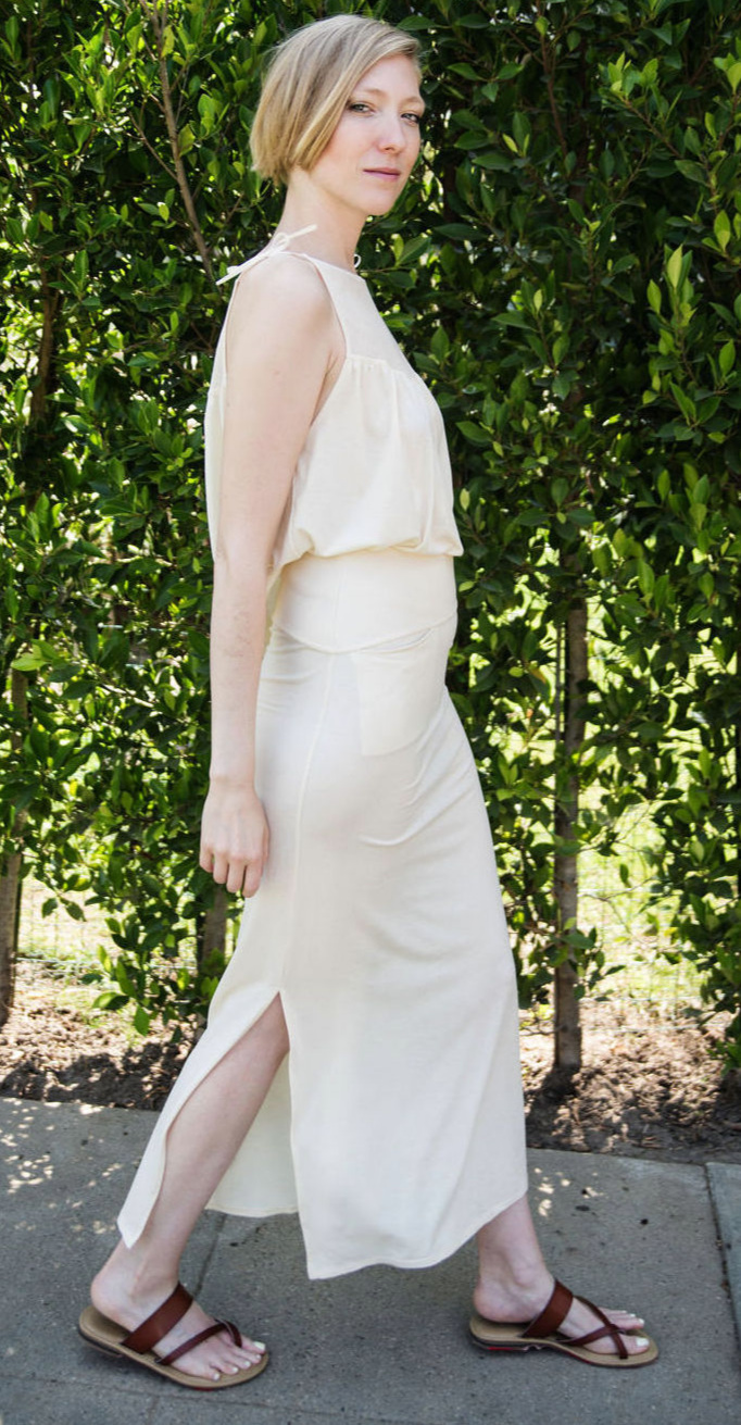 Slit Maxi Skirt & Sleeveless Top in Jersey