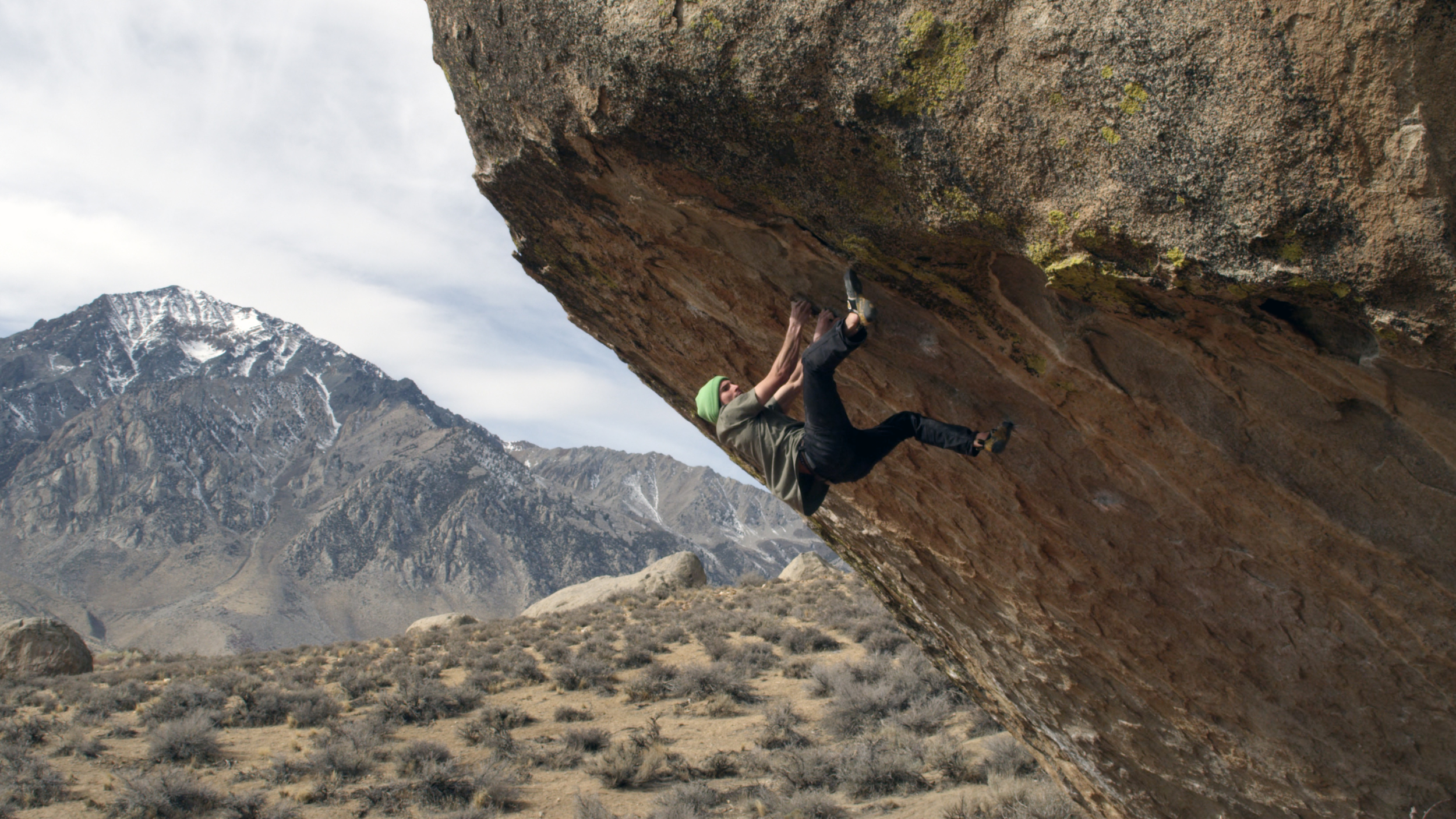 """DANIEL WOODS ON THE """"HIGH BALL"""" BOULDER PROBLEM THE PROCESS, BISHOP, CA.   MAX KRIMMER"""