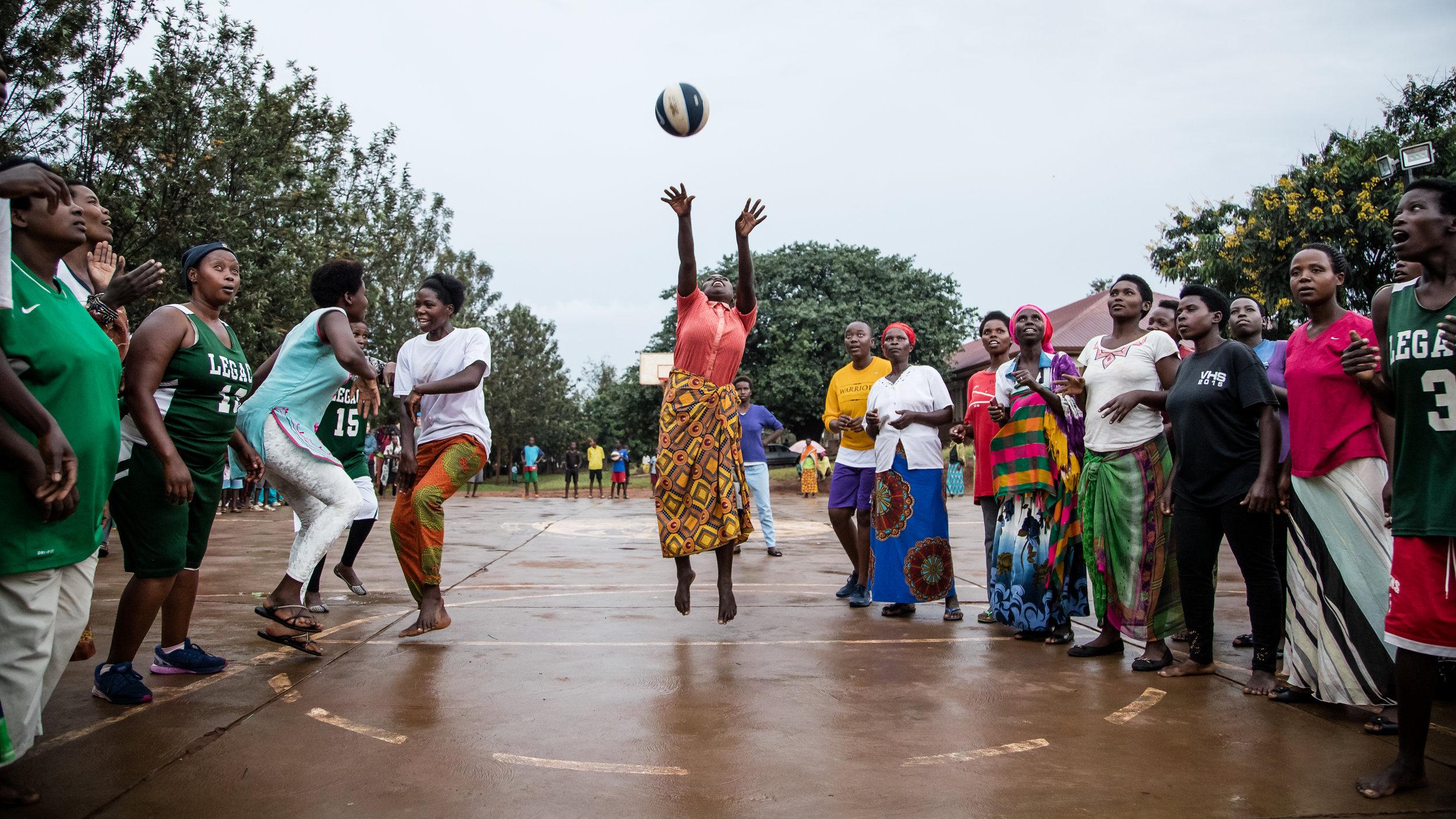 Women's practice in Rwinkwavu before the big International Women's Day tournament.