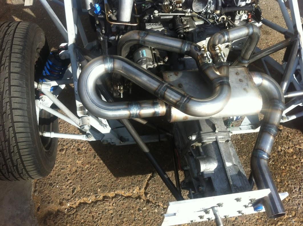 Tig welded mild steel exhaust with stainless muffler