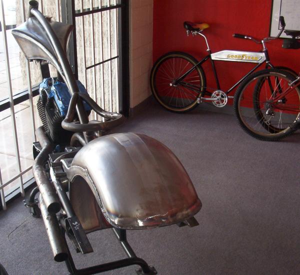 Custom chopper in showroom