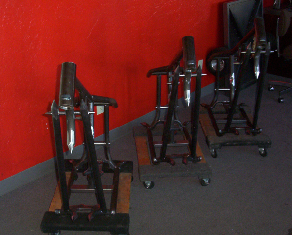 Harley frames awaiting assembly