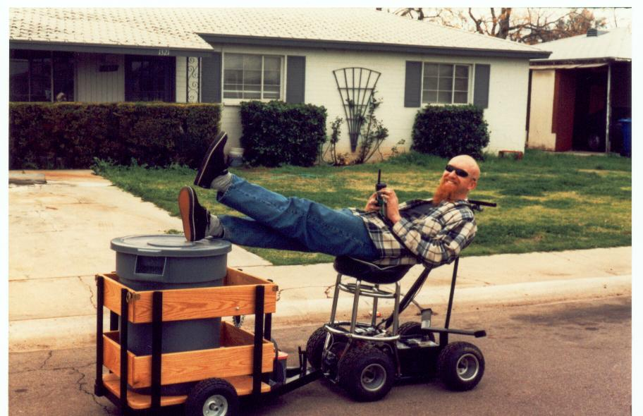 Barstool racer pulling keg trailer.