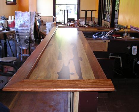 Tropical wood bar top in Portland's Nob Hill district