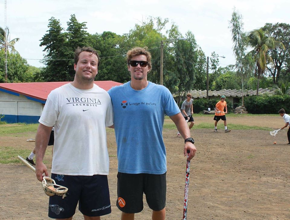 Brian Carroll (Camp Counselor) and Mikey Thompson (Director) volunteering with Lacrosse the Nations in Nicaragua