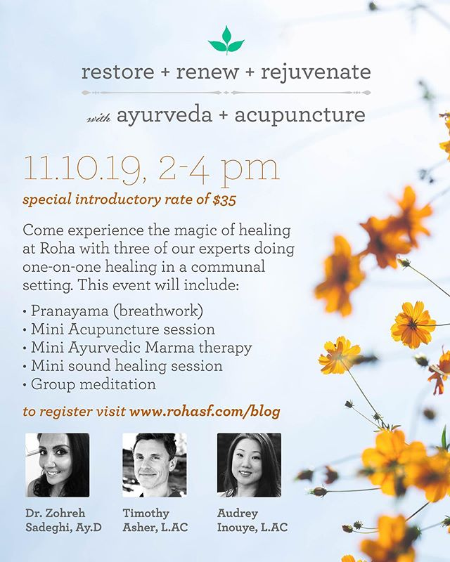 Excited to be a part of the wonderful team at Roha in offering a special community group healing event at our beautiful space. We will be combing Ayurveda + Acupuncture to give you a unique taste of the amazing benefits of these modalities. I love Ayurvedic medicine as it blends beautifully with Chinese medicine, both rooted in ancient traditions. Come to receive tuning fork sound healing with me, Marma scalp therapy with Zohreh, and relaxing acupuncture with Tim.  All done in a communal setting which creates a powerful collective energy that enhances each treatment for everyone. A perfect way to reset after a busy work week to leave you feeling grounded and rejuvenated~ you'll leave glowing from the inside out ✨ . Check out rohasf.com/blog to learn more about the event and sign up. Hope to see you there and please share and bring a friend!~ . . . #acupuncture #ayurveda #ayurvedicmedicine #chinesemedicine #easternmedicine #healing #tcm #soundhealing #tuningforks #community #health #wellness #facialacupuncture #facialrejuvenation #holistic #transformation #mindbodysoul #bayareaevents #sfevents  #bayarea #sanfrancisco #castro #sf