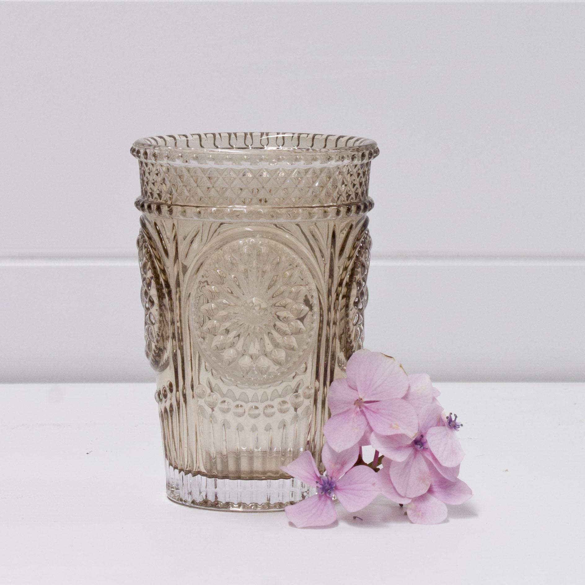 Ornate smoked glass tea light holder.jpg
