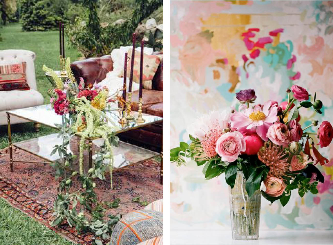 Left: Photographer/Videographer: Celia & Jorge of Pabelona Studio / Venue: Fairchild Gardens / Planning & Design: Miranda Hattie Events / Florist: Anthology Right:  Michelle Armas  Painter found via  OnceWed
