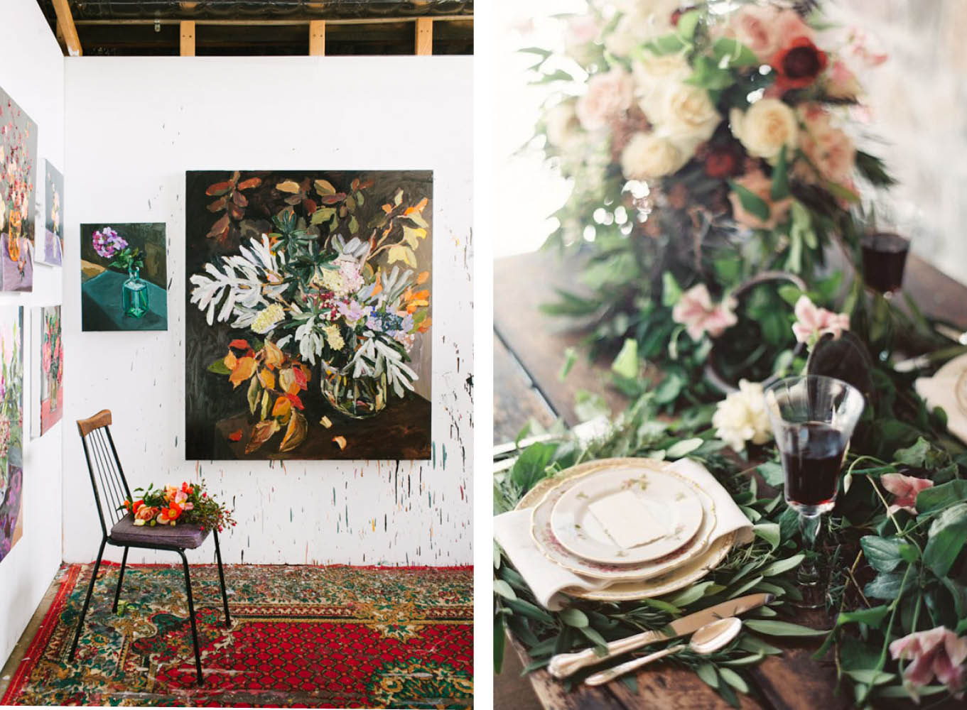 Left: Sydney artist  Laura Jones .   Photo –  Rachel Kara  for The Design Files. Right: Photography:  Orange Photographie  Floral Design  Habitat Events