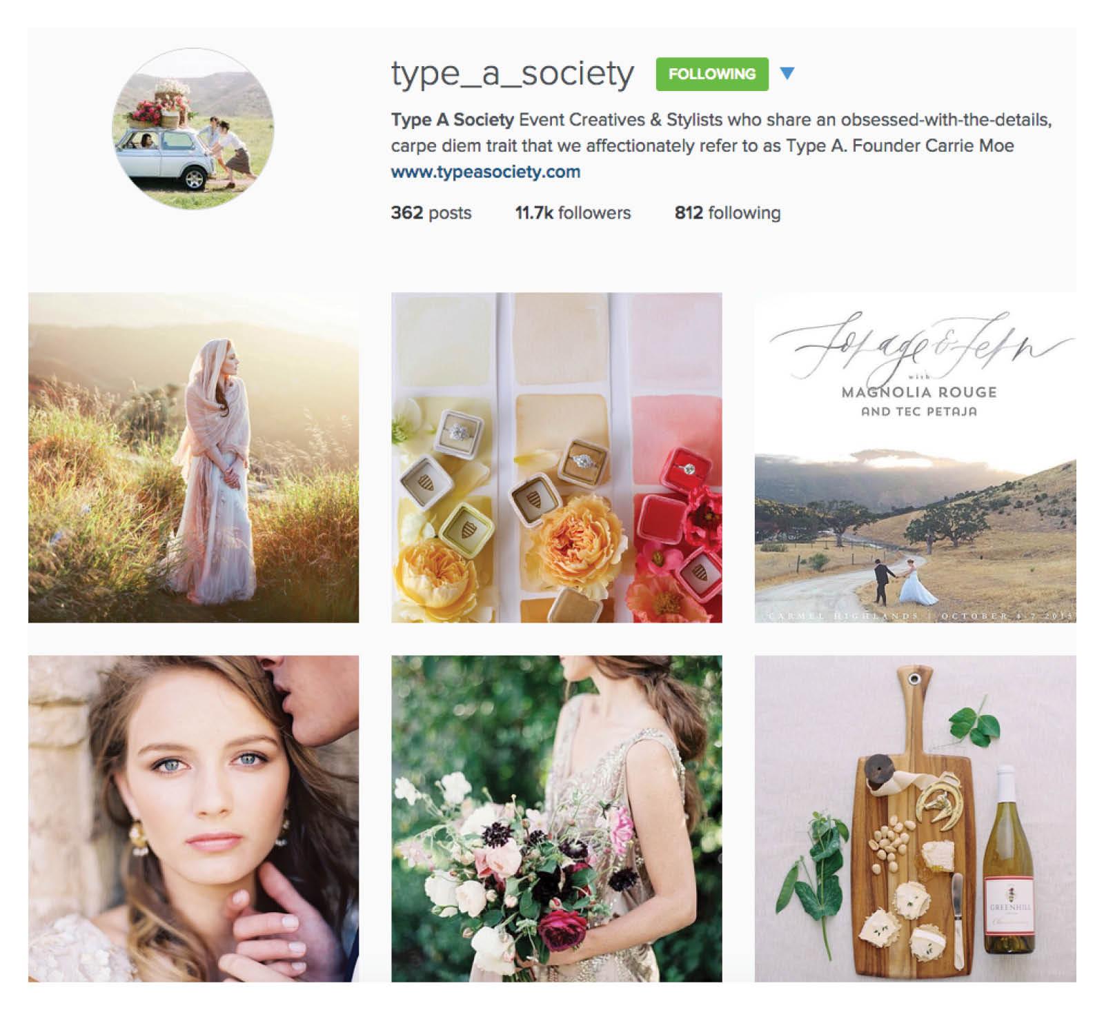 type a society inspirational wedding instagram