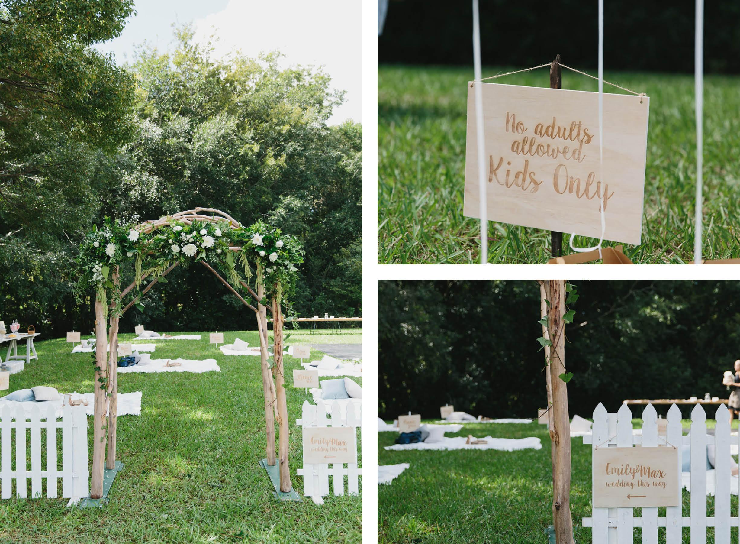 wedding sunshine coast picnic reception styled by little gray station