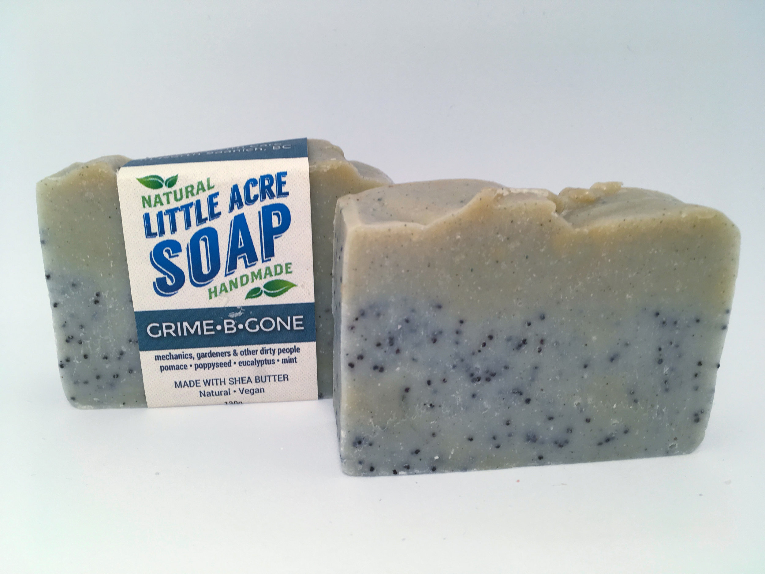 GRIME-B-GONE  Calling all dirty people! This bar is packed with ground pumice stone to help chase away deeply embedded dirt and grime. Pleasantly scented with Eucalyptus and Peppermint, which can also help heal small knicks and cuts.