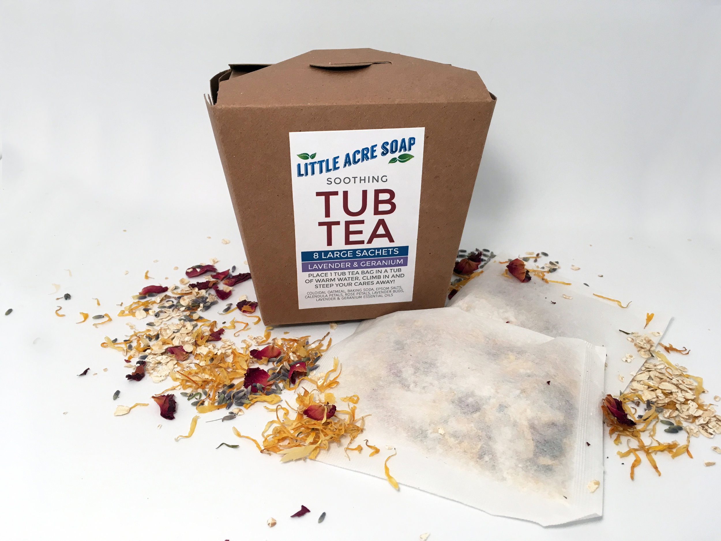 TUB TEA  A soothing soak in gently scented waters while your skin is nourished, conditioned and soothed — mmm, sounds great! Each box contains 8 large tea bags filled with Colloidal Oatmeal, Baking Soda, Epsom Salts, Calendula Flowers, Rose Petals, Lavender Buds, and is scented with Lavender and Geranium essential oils. Place a bag in your warm bath and steep your cares away! Makes a great gift (or keep it for yourself...you deserve it!).  $10