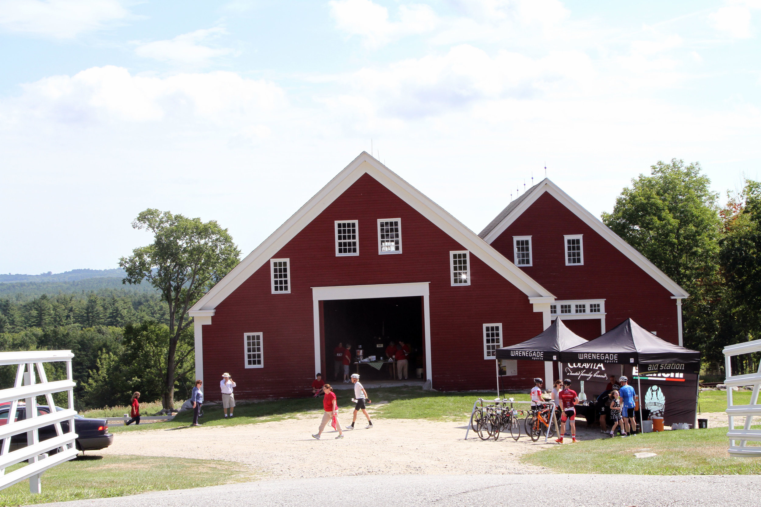 Gourmet aid station at Farm to Fork Fondo – Maine bicycle event at Sabbathday Lake Shaker Village in New Gloucester ME
