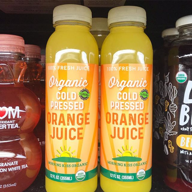 My label design for @morningkissorganic on the shelves at our local MB! ✔️🍊 #branddesign #coldpressed #juicelife