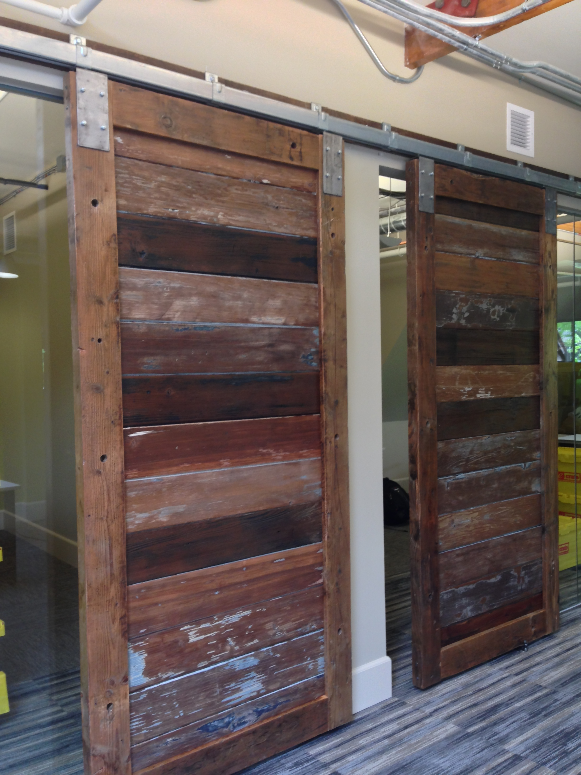 Industrial chic office sliding doors for offices.