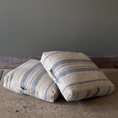 Blue Linen Floor Pillow Farmyard