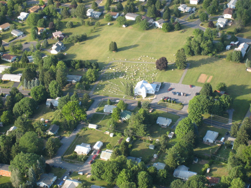 The view of the House of Hope from a hot air balloon soaring above Houserville.  Our church is meant to be a source of hope for the entire community.