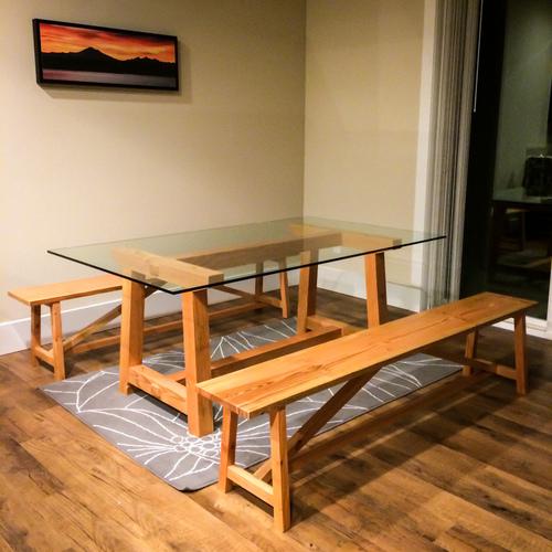 "local douglas fir dining set with ½"" glass top"