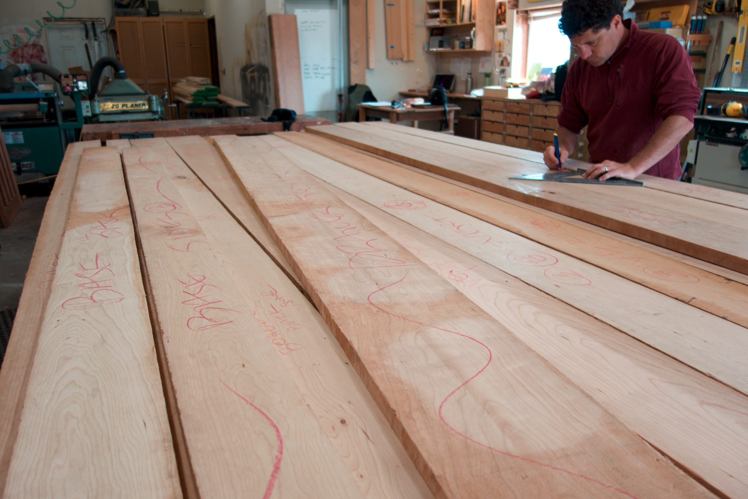 Lots of rough sawn domestic cherry and quilted western maple in the shop. Now it's time to figure out how best to slice and dice all these beautiful boards into parts for the armoires.