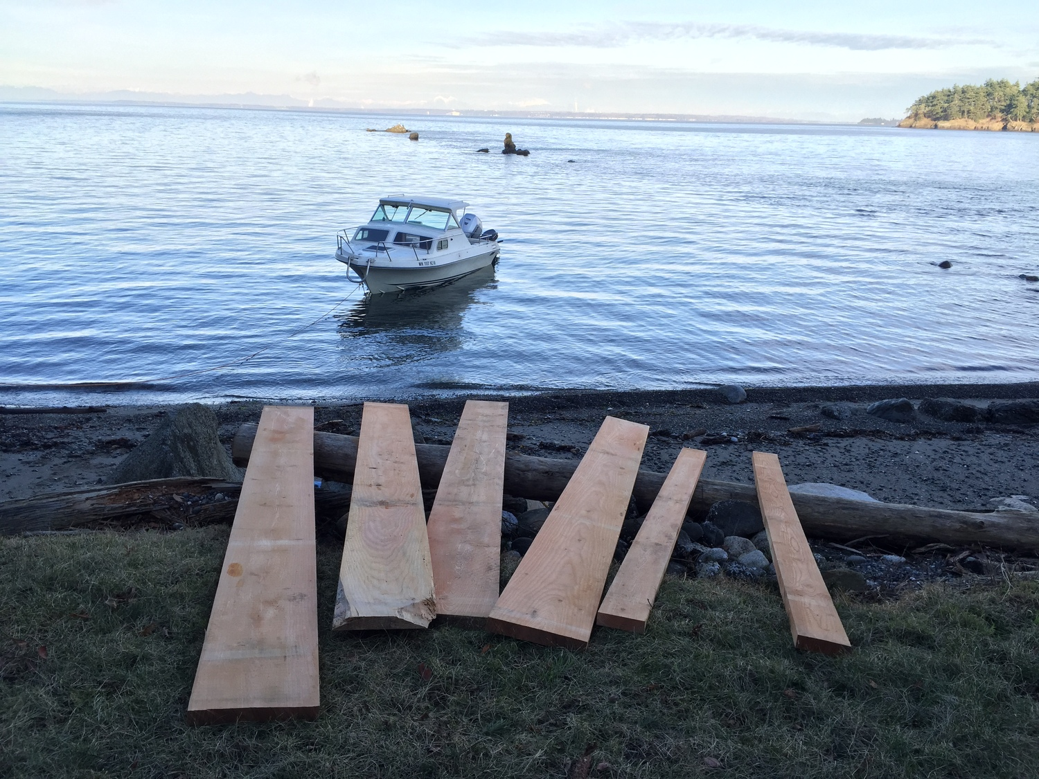 """harvested' some nice douglas fir boards from a nearby island today.  These trees grew within a few miles of the clients home on Lummi Island.  Design is simple and sturdy."