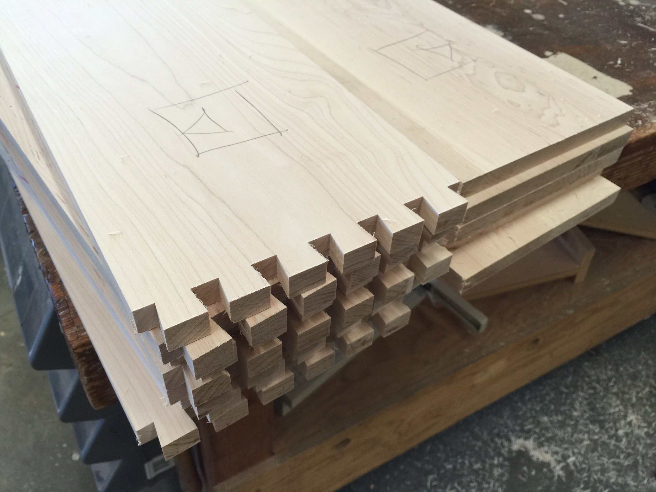 Dovetail drawer parts.