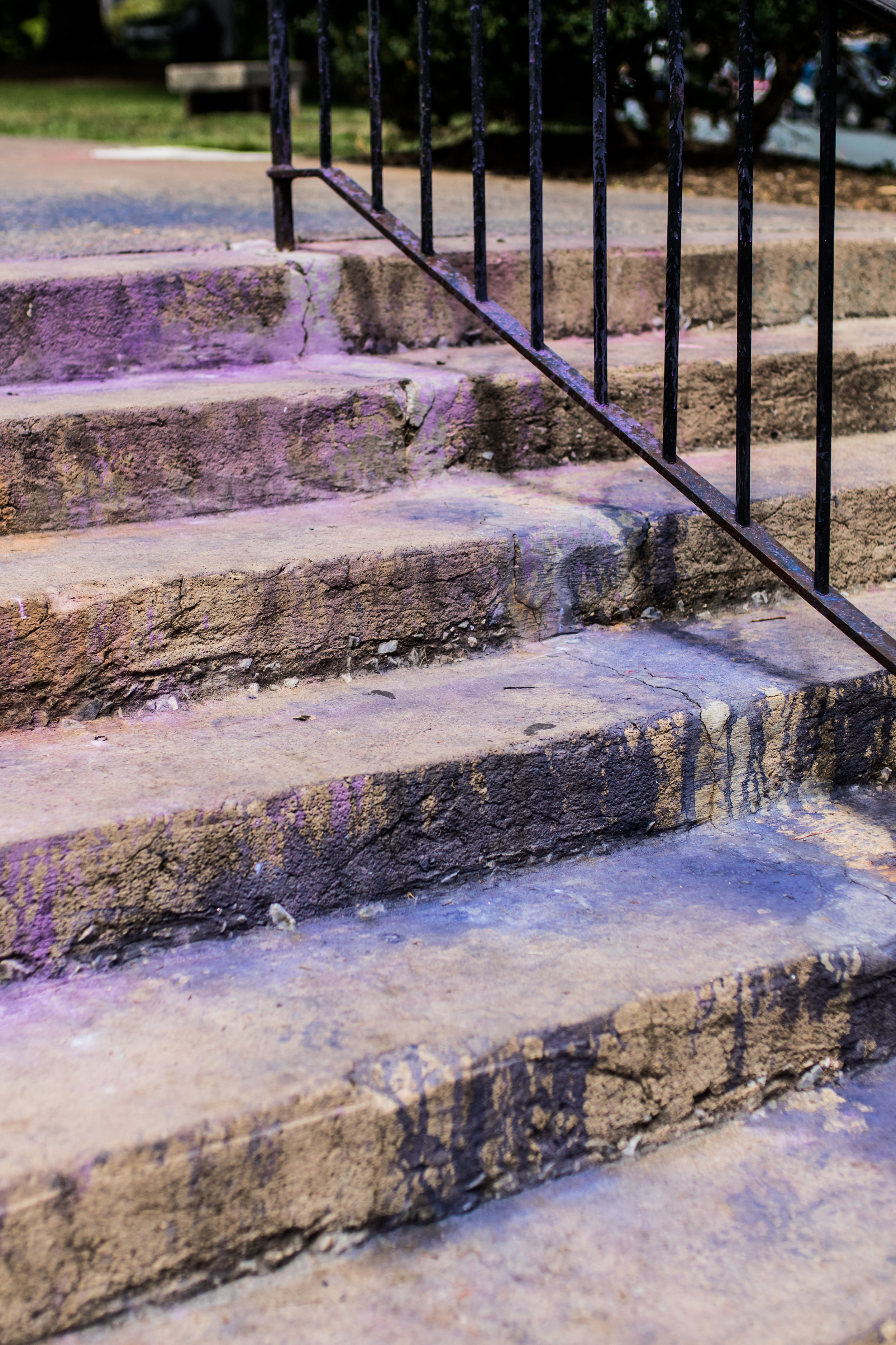 Steps leading to Emancipation Park - ironically covered in purple because of residue from smoke grenades.