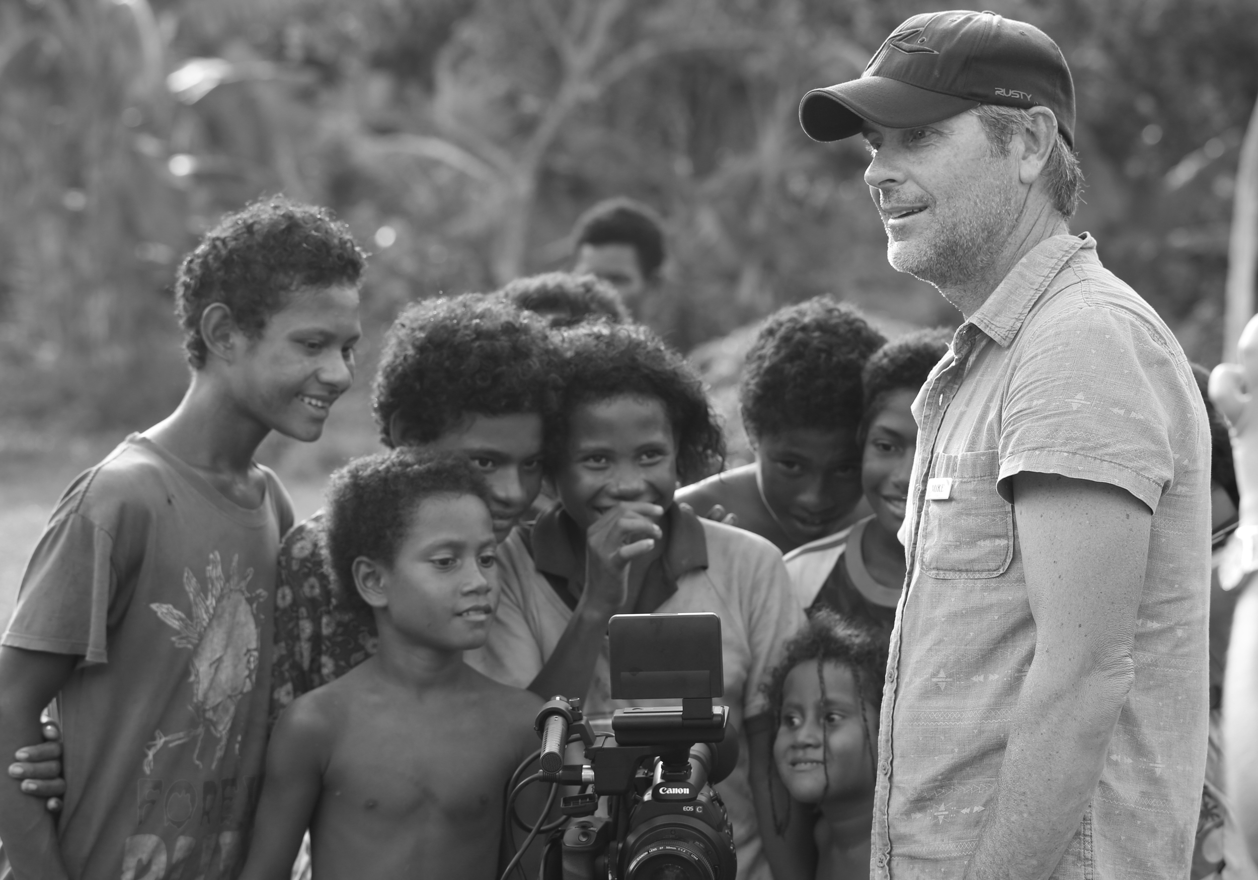 Mike entertaining the locals with his footage.